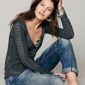 Free People | Gray Lace L/S Henley L